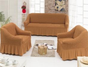Чехол на диван и два кресла / Горчичный 219/210