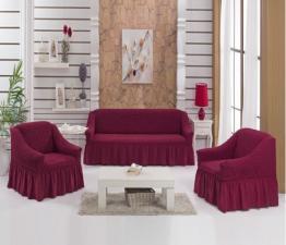 Чехол на диван и два кресла / Малиновый