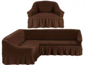 Комплект: угловой диван и кресло / Шоколадный